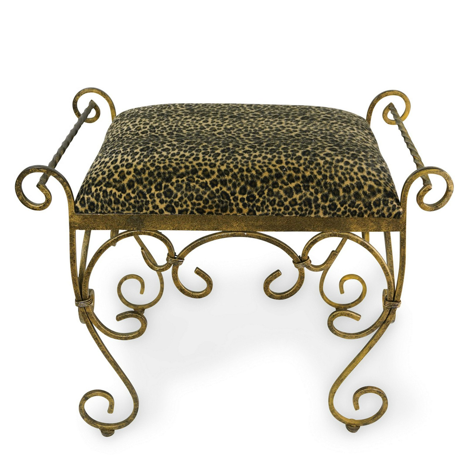 Mid Century Gilt Iron and Upholstered Chair