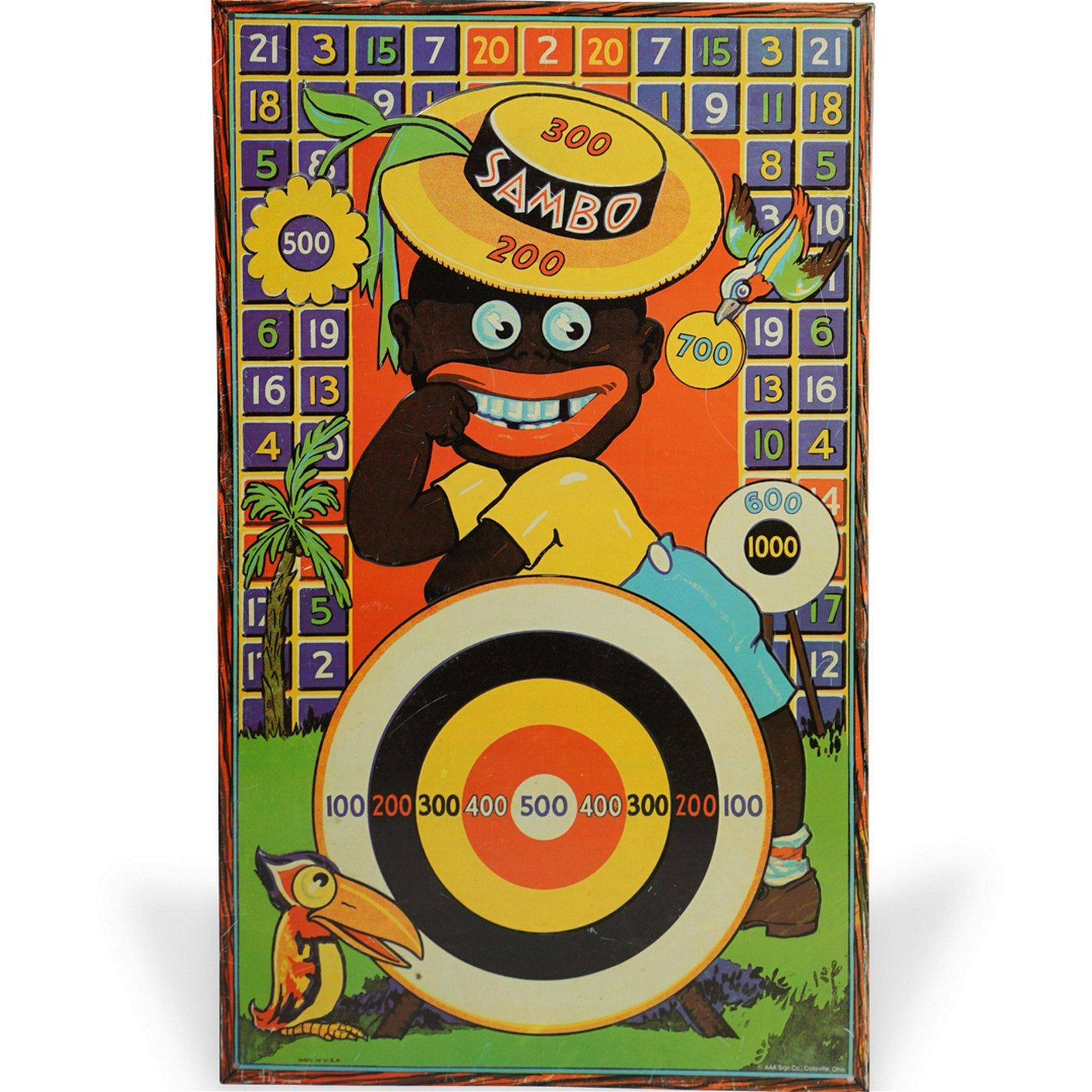 Antique Tin Black Americana Sambo Game Board