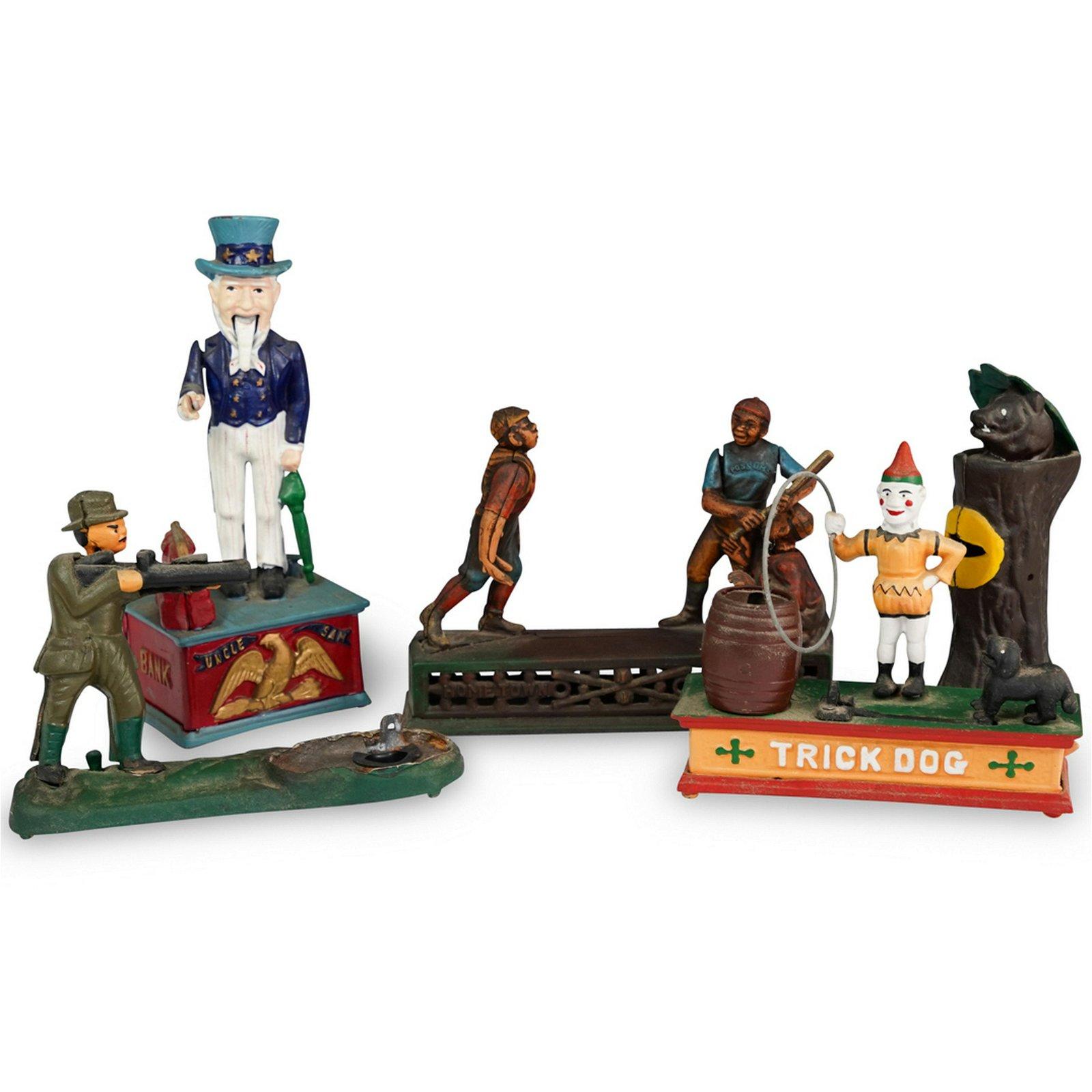 (5 Pc) Black Americana Cast Iron Mechanical Bank