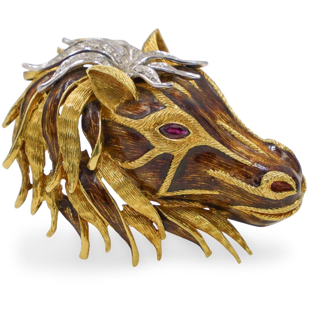 18k Gold, Enamel and Diamond Horse Brooch