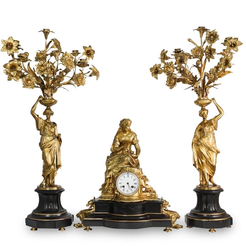 (3 Pc) French Japy Freres Gilt Bronze Garniture Set