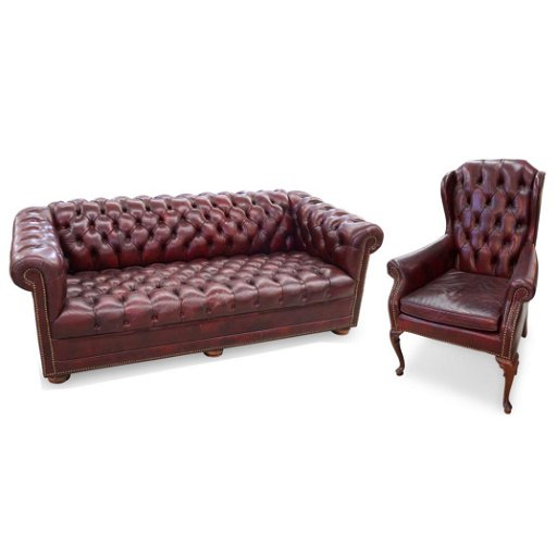 (2 pc) Red Leather Tufted Sofa by Classic