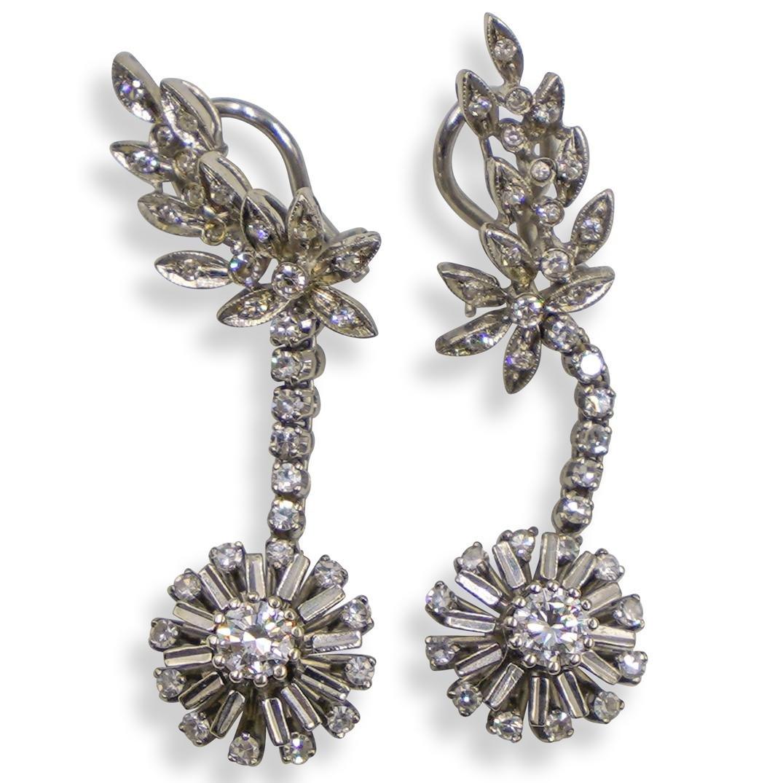 Vintage 18k and Diamond Drop Earrings