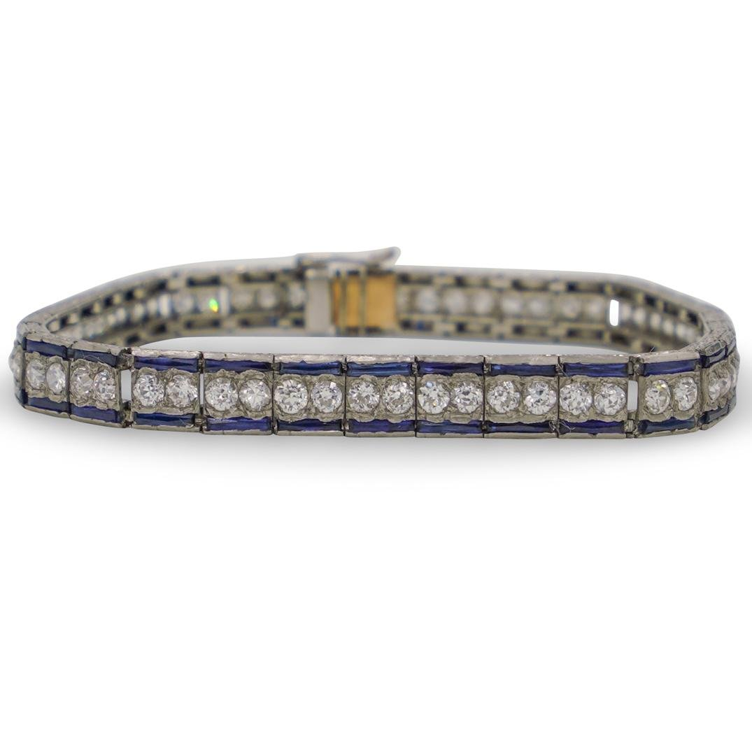 Art Nouveau Platinum, Diamond and Sapphire Bracelet