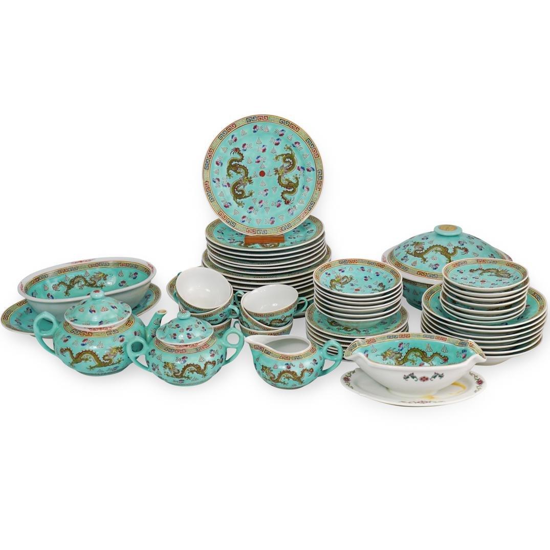 (57 Pc) Chinese Porcelain Enamel Dinner Service