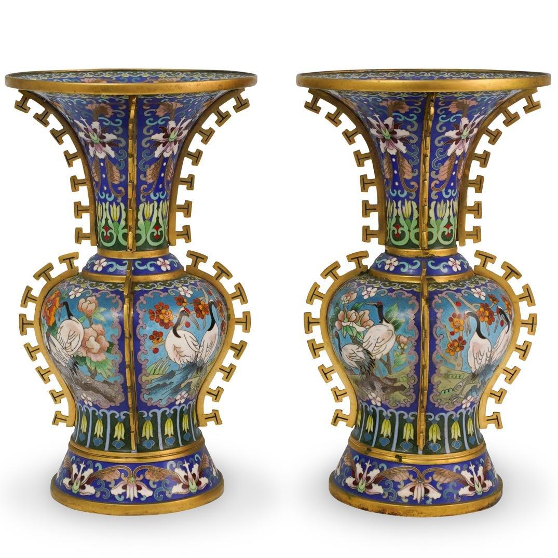 Pair Of Chinese Enamel Cloisonne Bronze Vase
