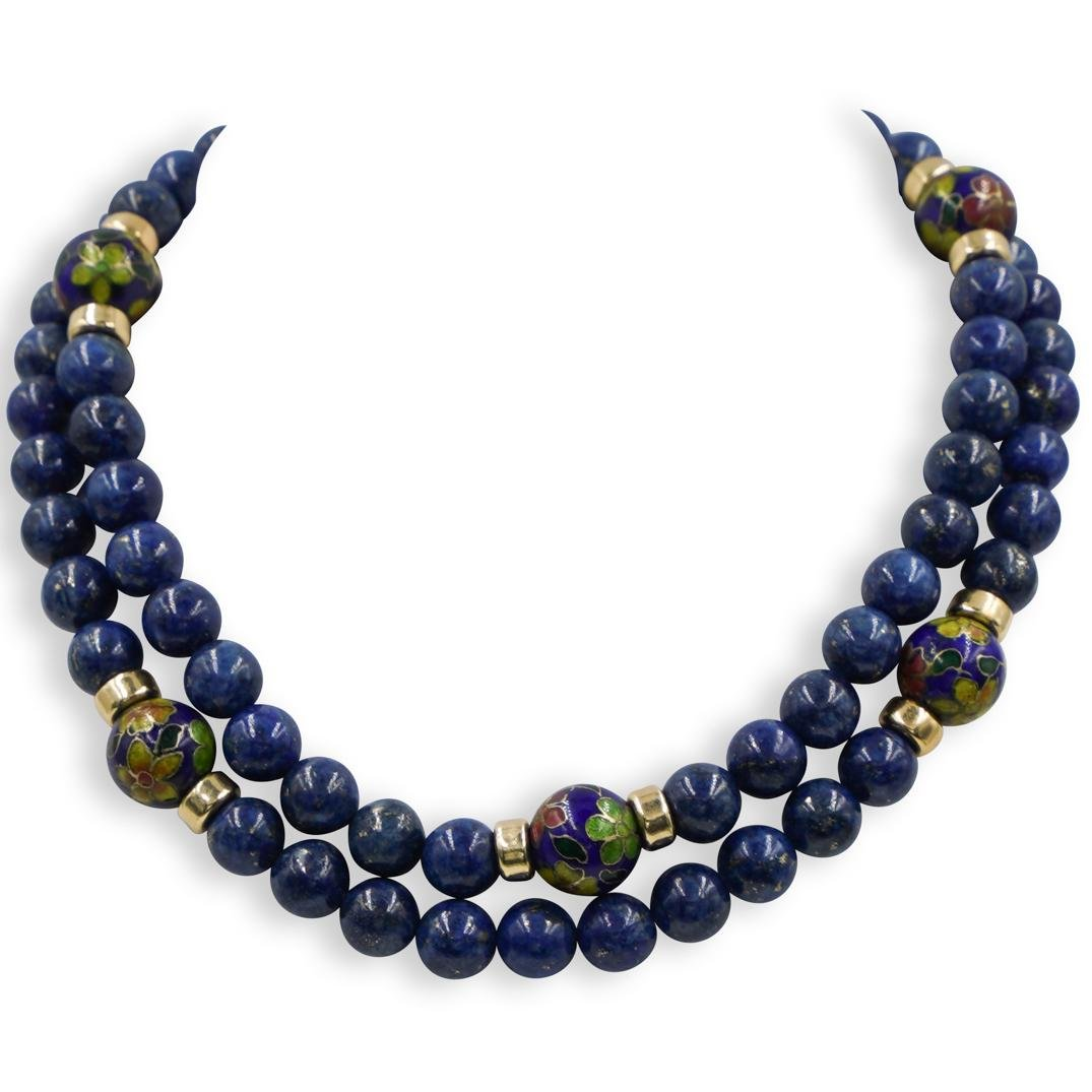 Chinese Lapis and Cloisonne Beaded Necklace