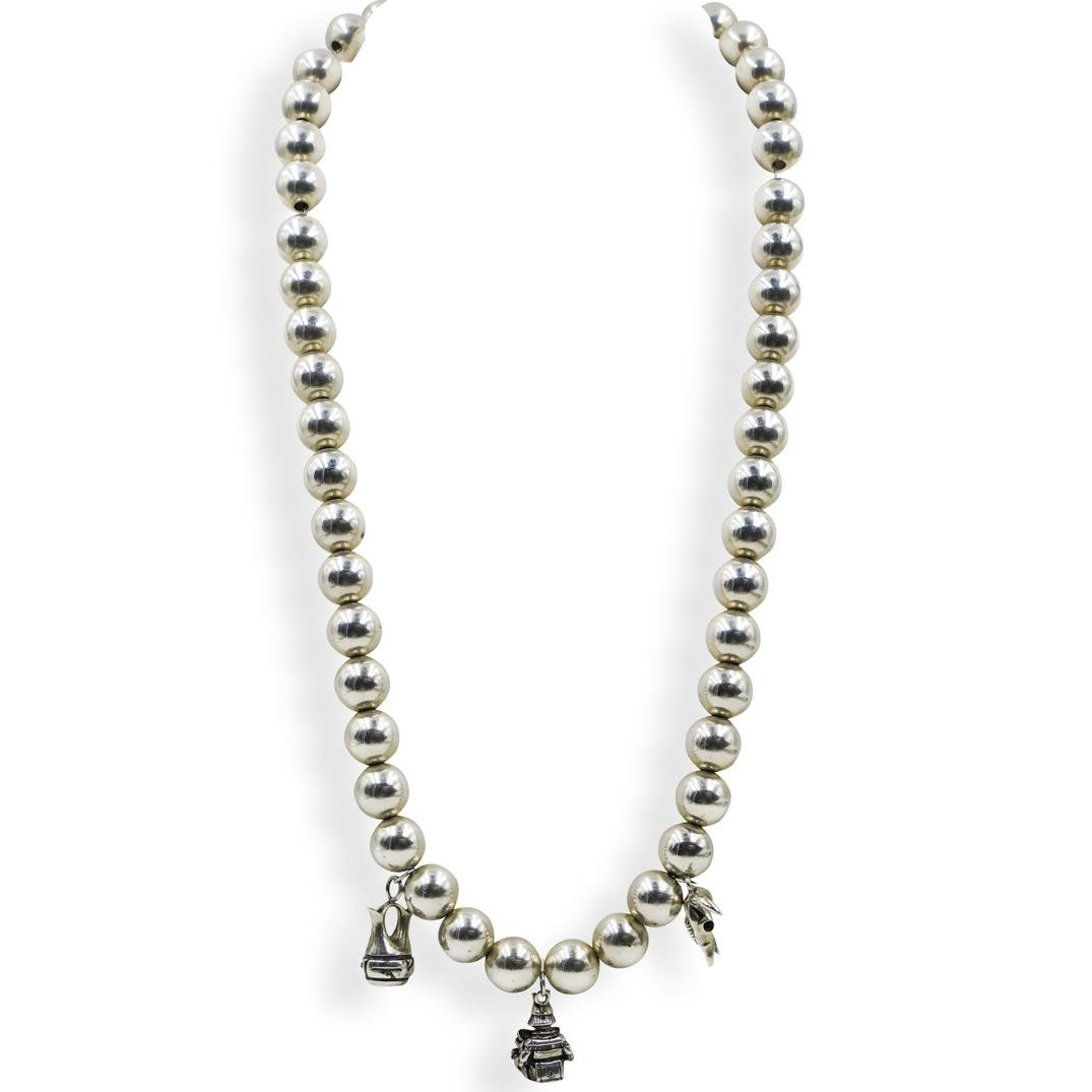 Chinese Sterling Beaded Charm Necklace