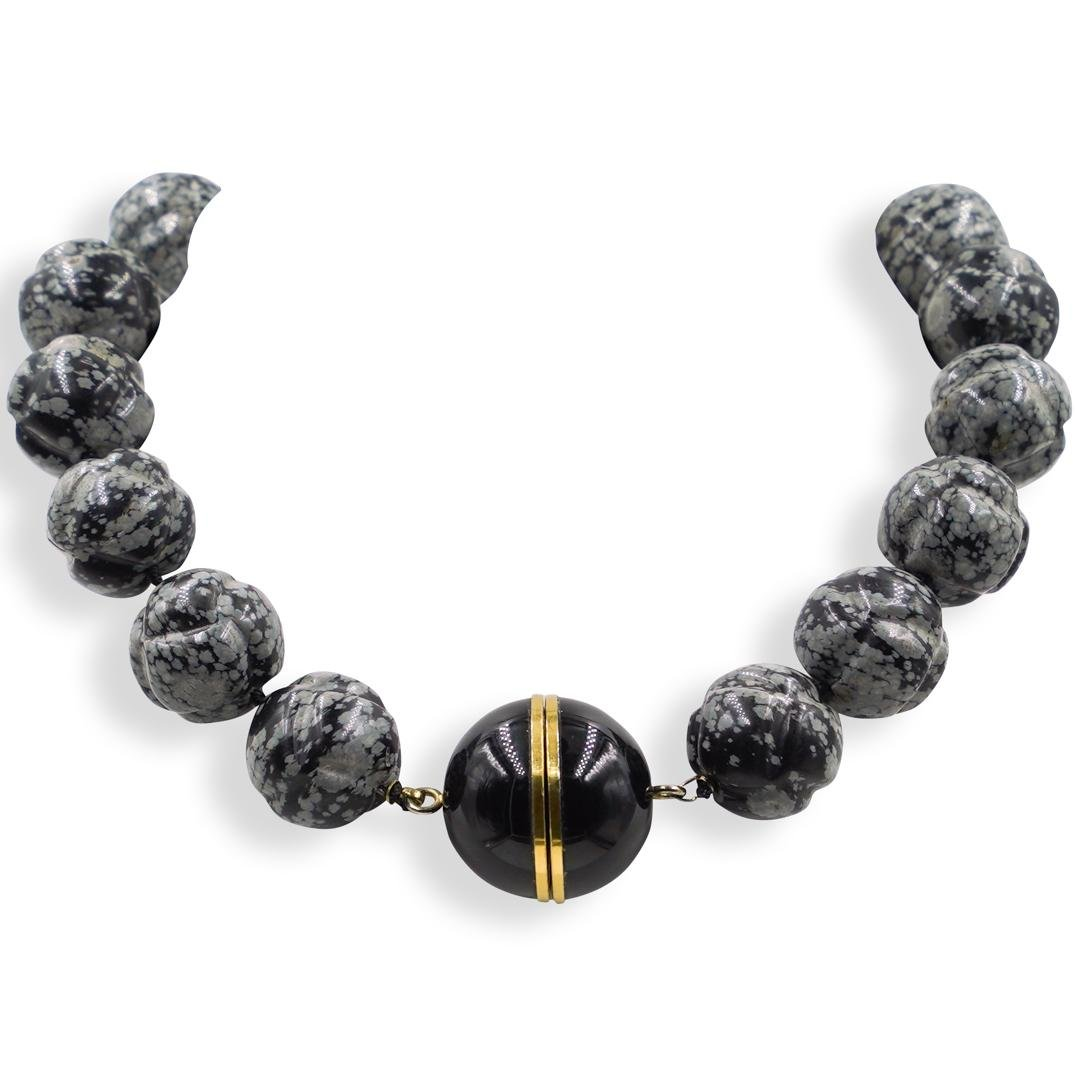 Beaded Marble, Onyx and Sterling Necklace