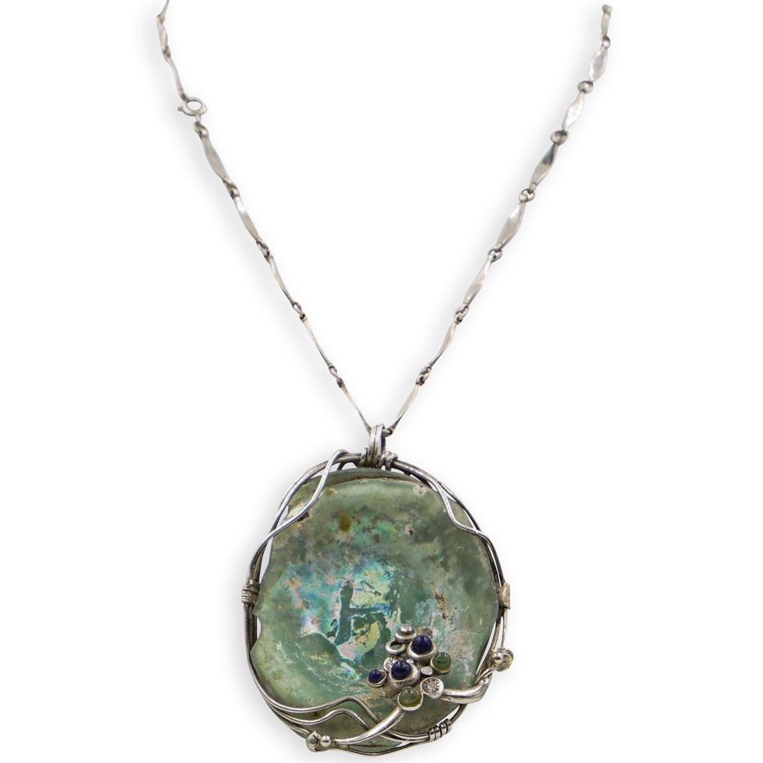 Roman Glass Pendant on Silver Necklace
