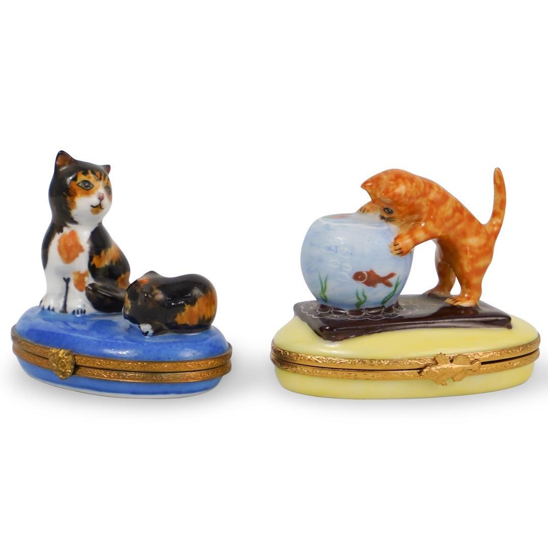 (2 Pc) Limoges Porcelain Cat Pill Boxes