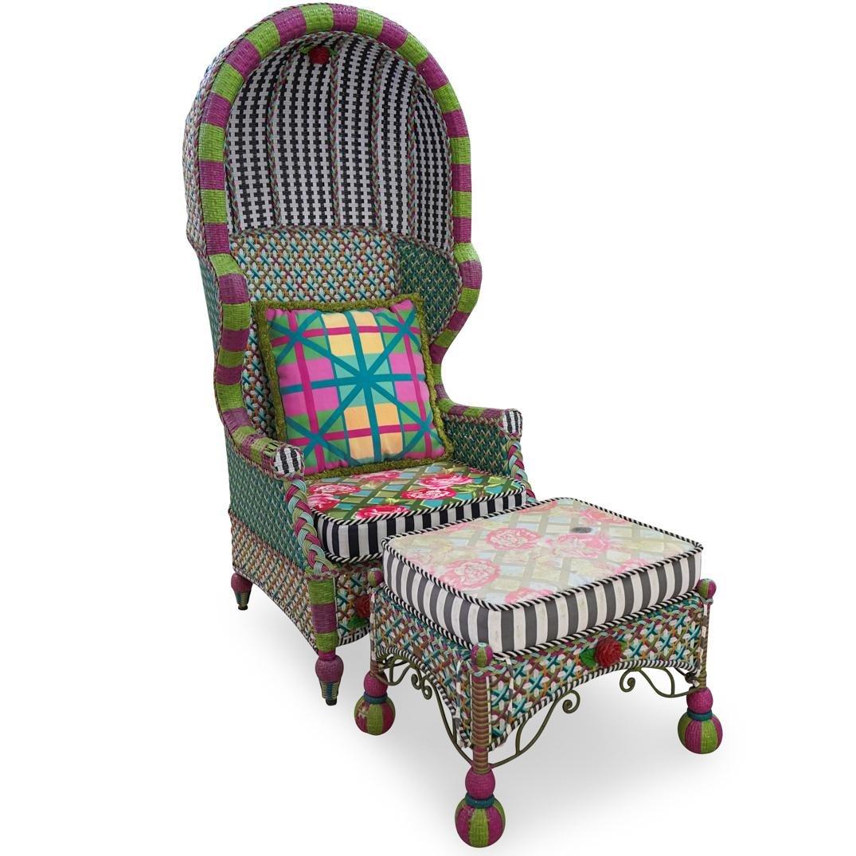 (2 Pc) MacKenzie Childs Greenhouse Bonnet Chair