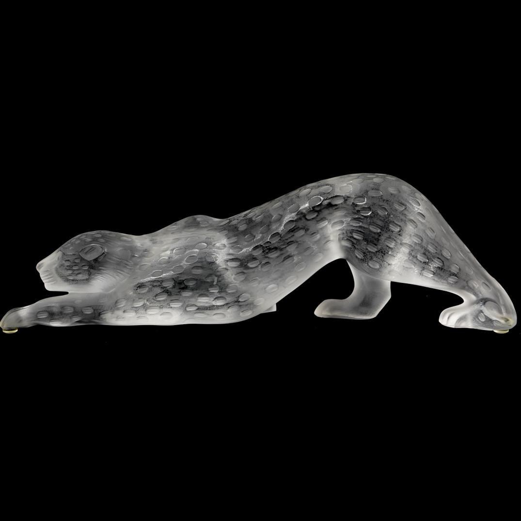 "Large Lalique ""Zeila"" Crystal Panther"