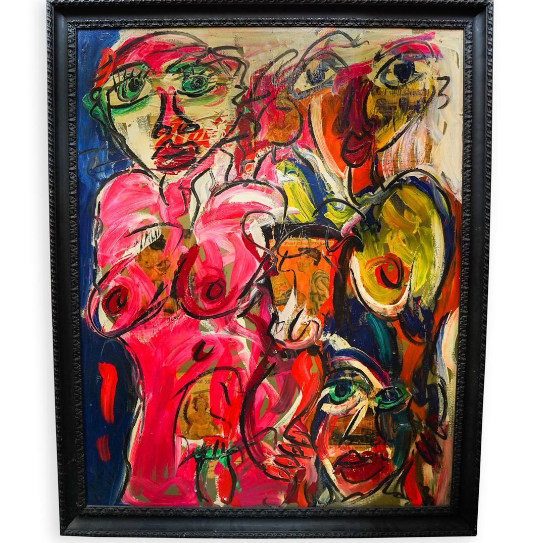 Large Peter Keil (German, b. 1942) Media on Canvas