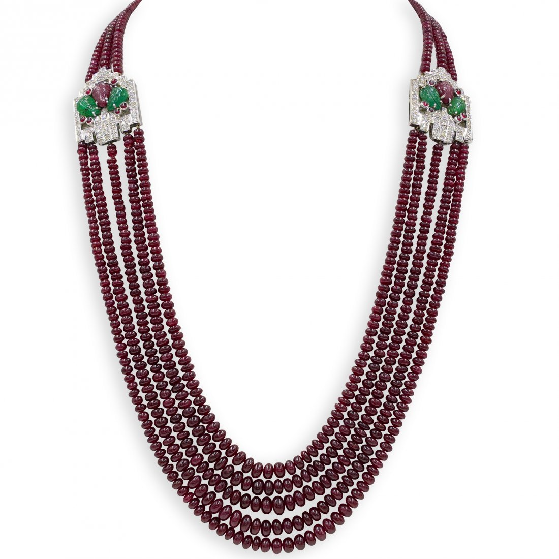 Cartier Style Ruby, Emerald and Diamond Necklace
