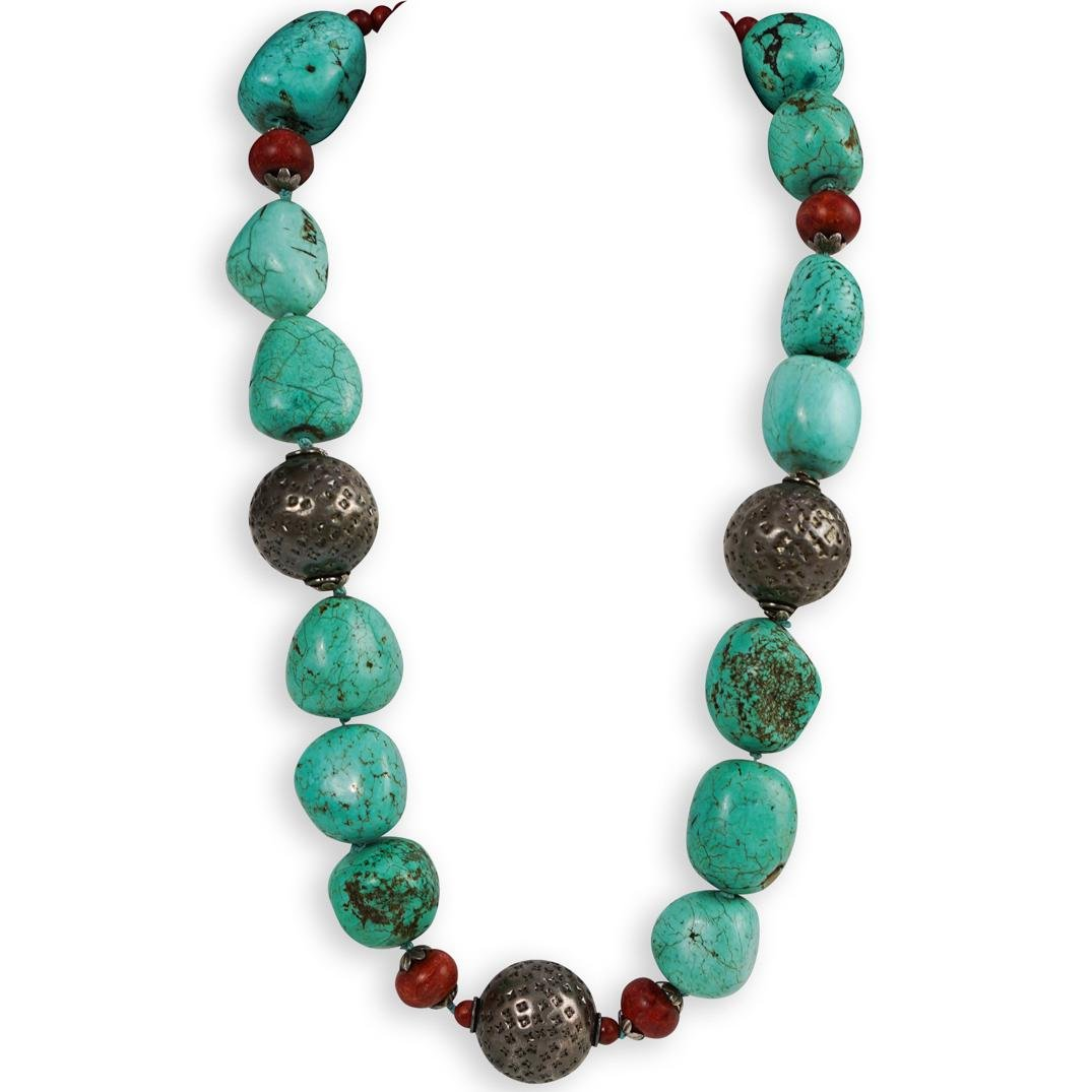 Navajo Style Large Beaded Turquoise and Sterling