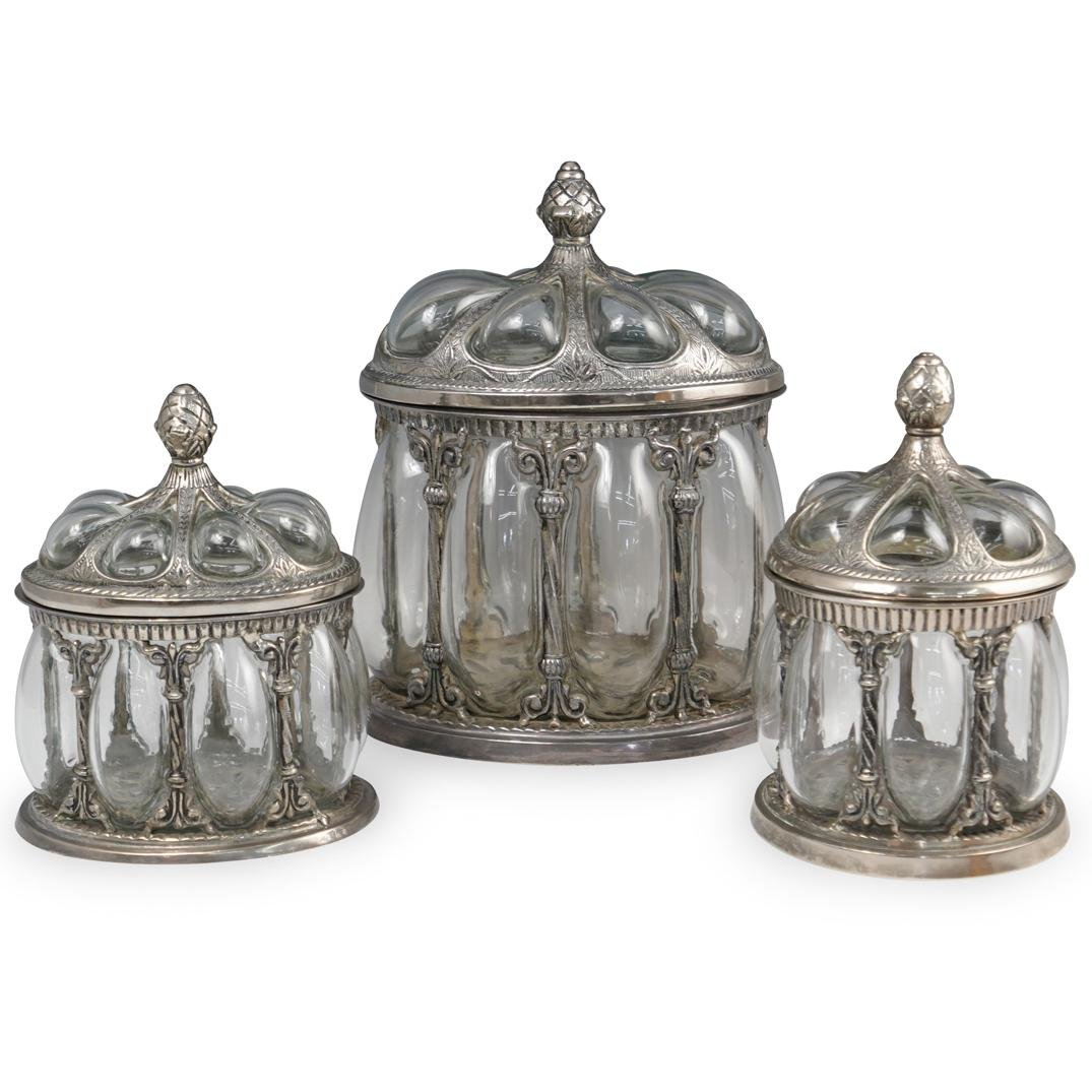 (3 Pc) Silver Plate and Glass Biscuit Jar