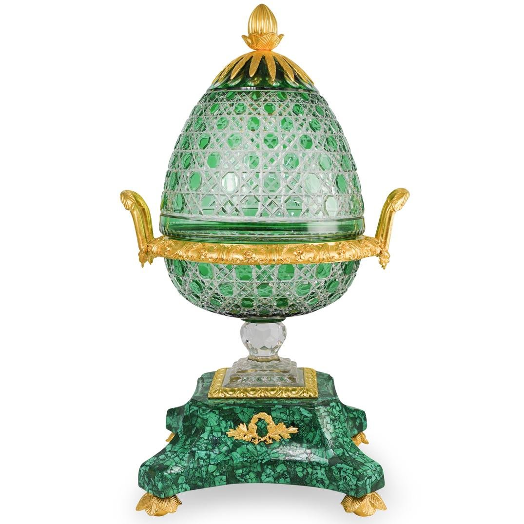 Imperial Style Crystal, Bronze and Malachite Urn