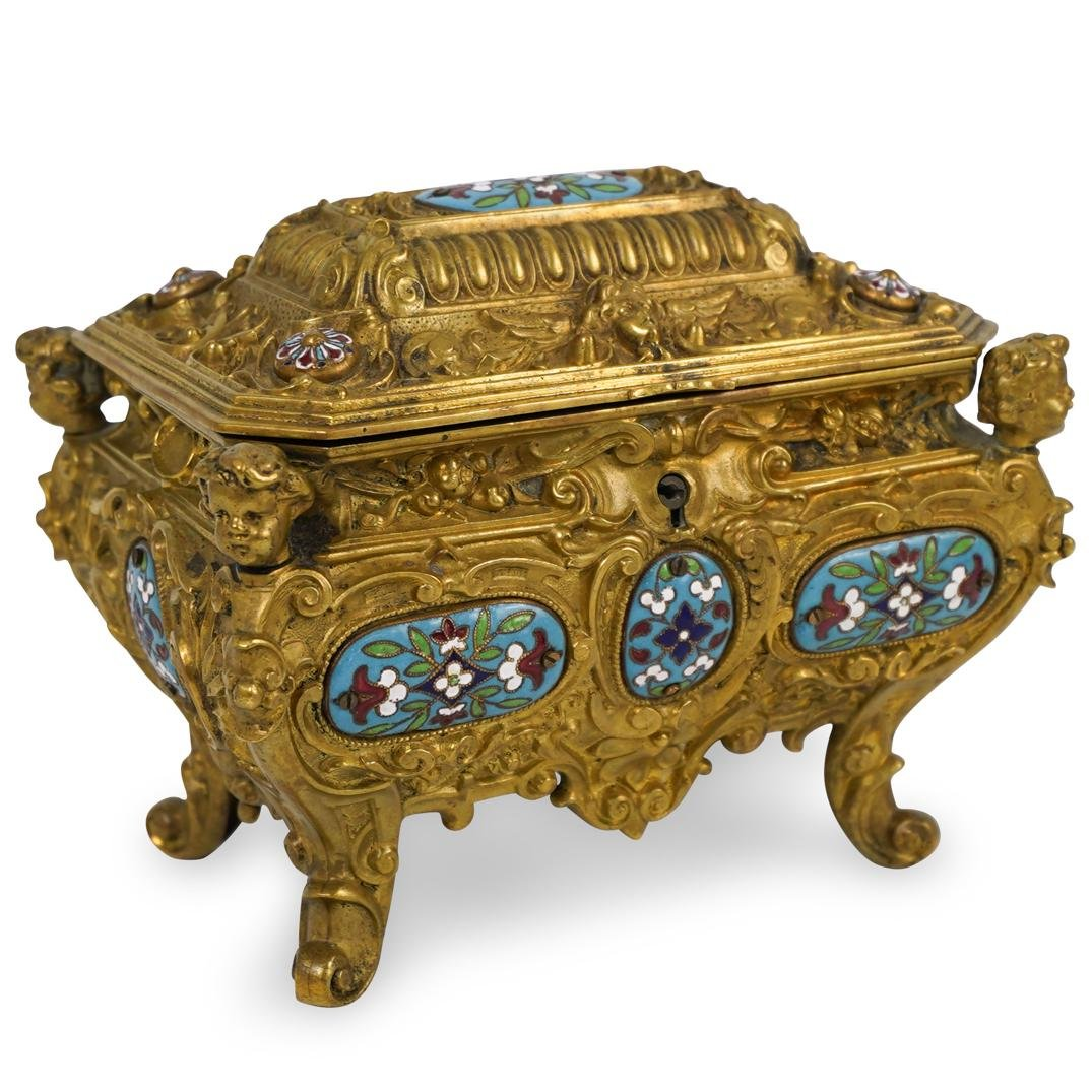 Antique Gilded Bronze and Champleve Jewelry Box