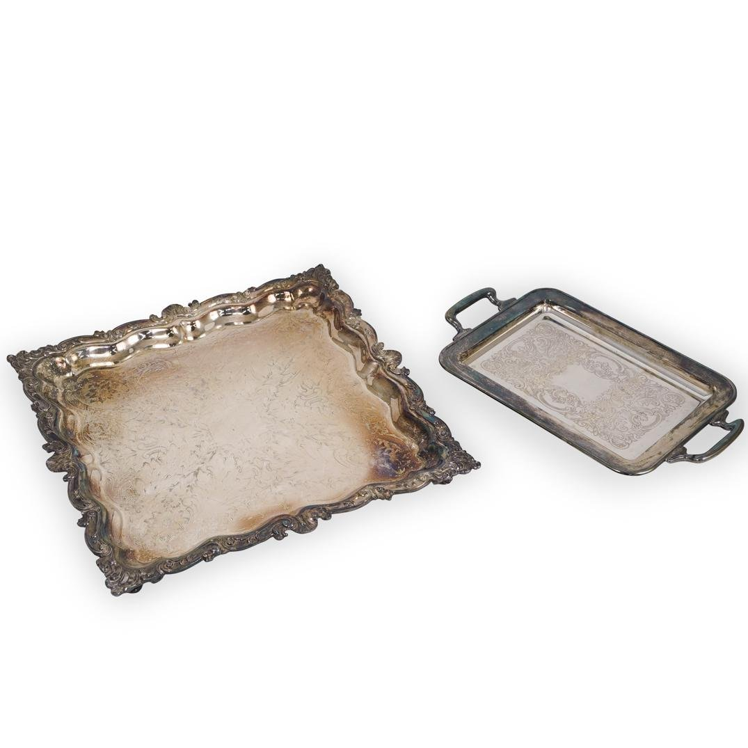 (2 Pc) Silver Plated Serving Trays