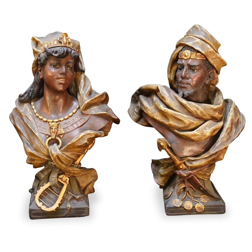 Pair Of Orientalist Teracotta Busts
