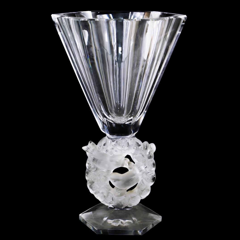 """Lalique Crystal """"Mesanges"""" Vase"""