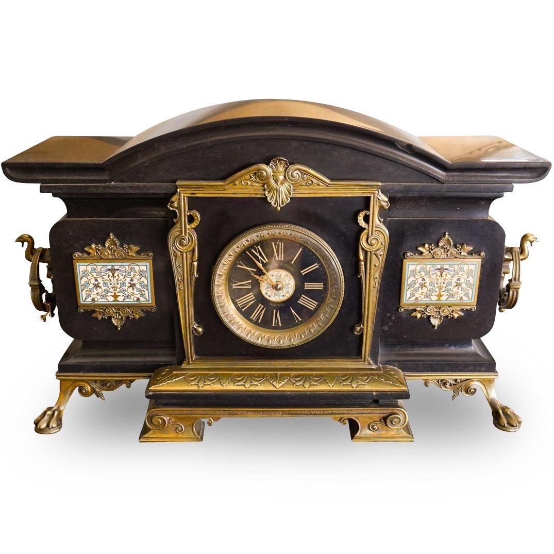 Theodore B Starr Slate Champleve Clock