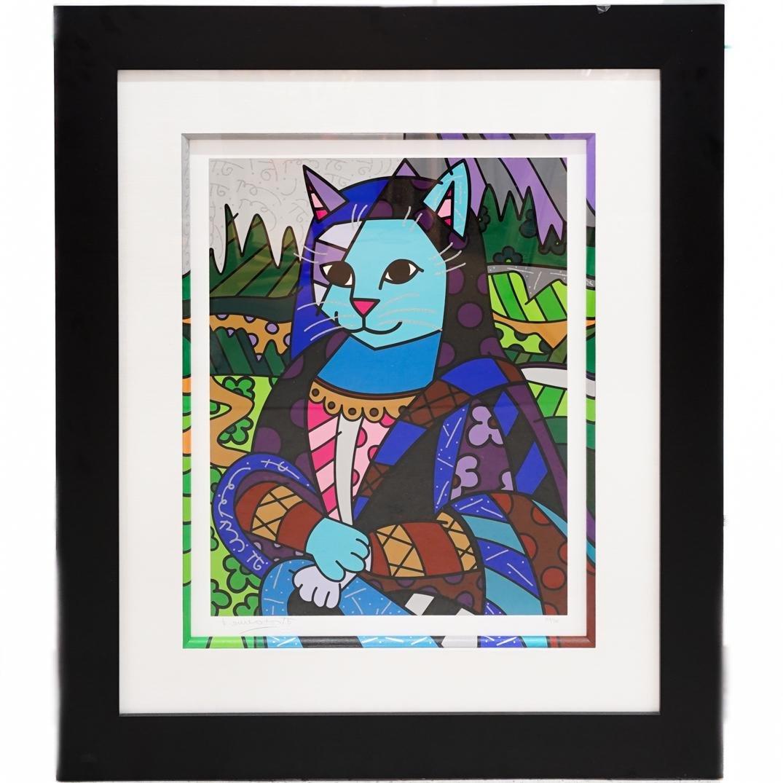 """Romero Britto (Brazilian, b. 1963) """"Mona Cat"""""""