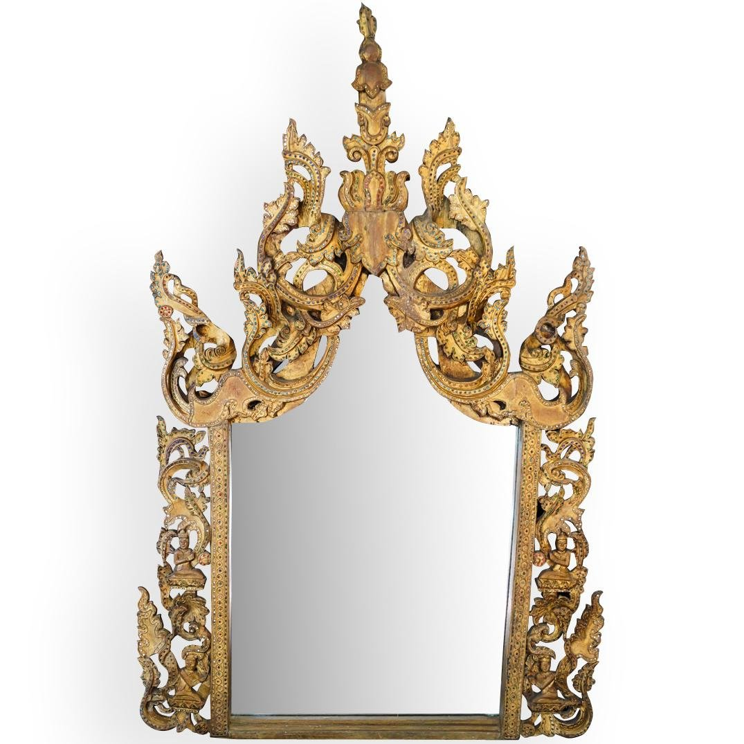 Thai Carved Gilded Wood Mirror