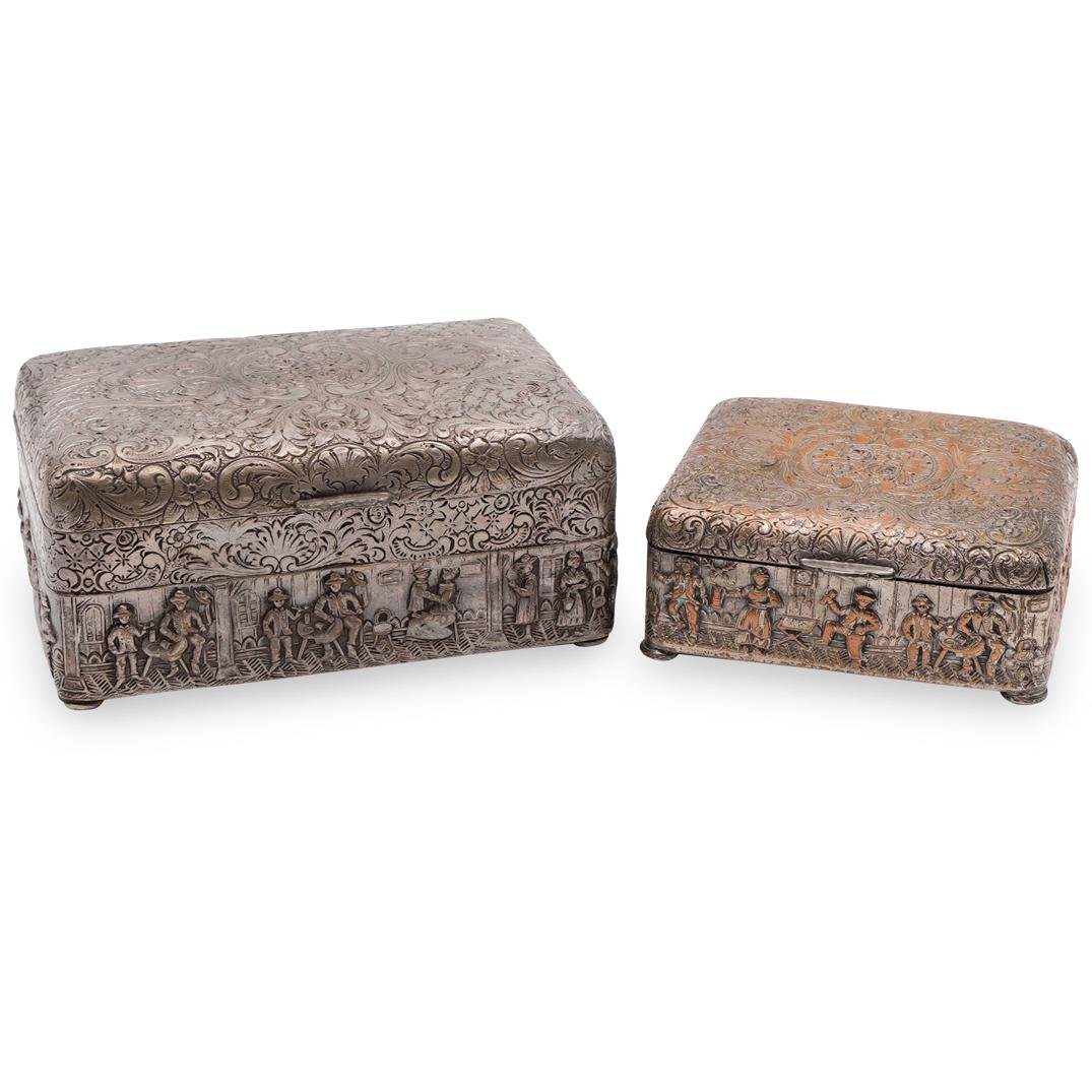 (2 Pc) Danish Silver Plated Repousse Boxes