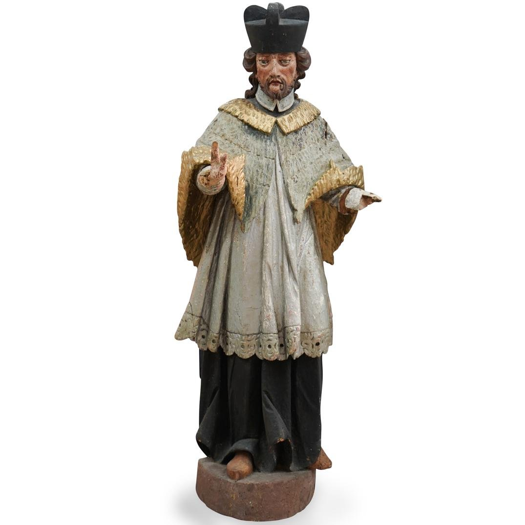Bohemian Saint John Nepomuk Carved Wood Sculpture