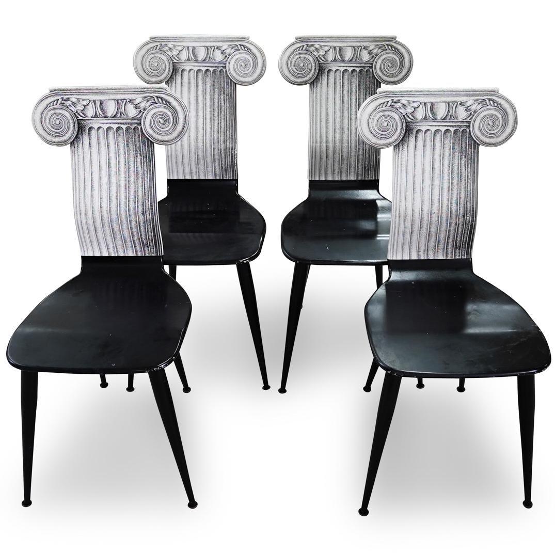 (4 Pc) Fornasetti 'Capitello Ionico' Chairs