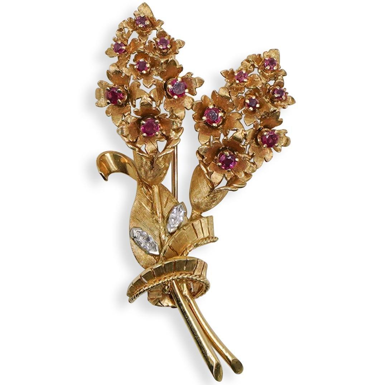 14K Gold Ruby & Diamond Pin