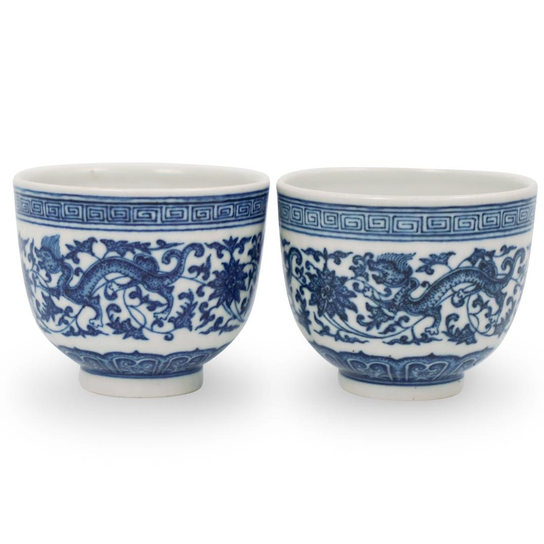Pair Of Chinese Qing Dynasty Blue and White Porcelain
