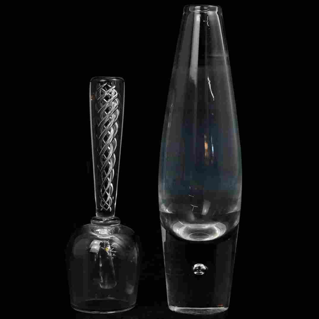 (2 Pc) Steuben Glass Dinner Bell and Vase