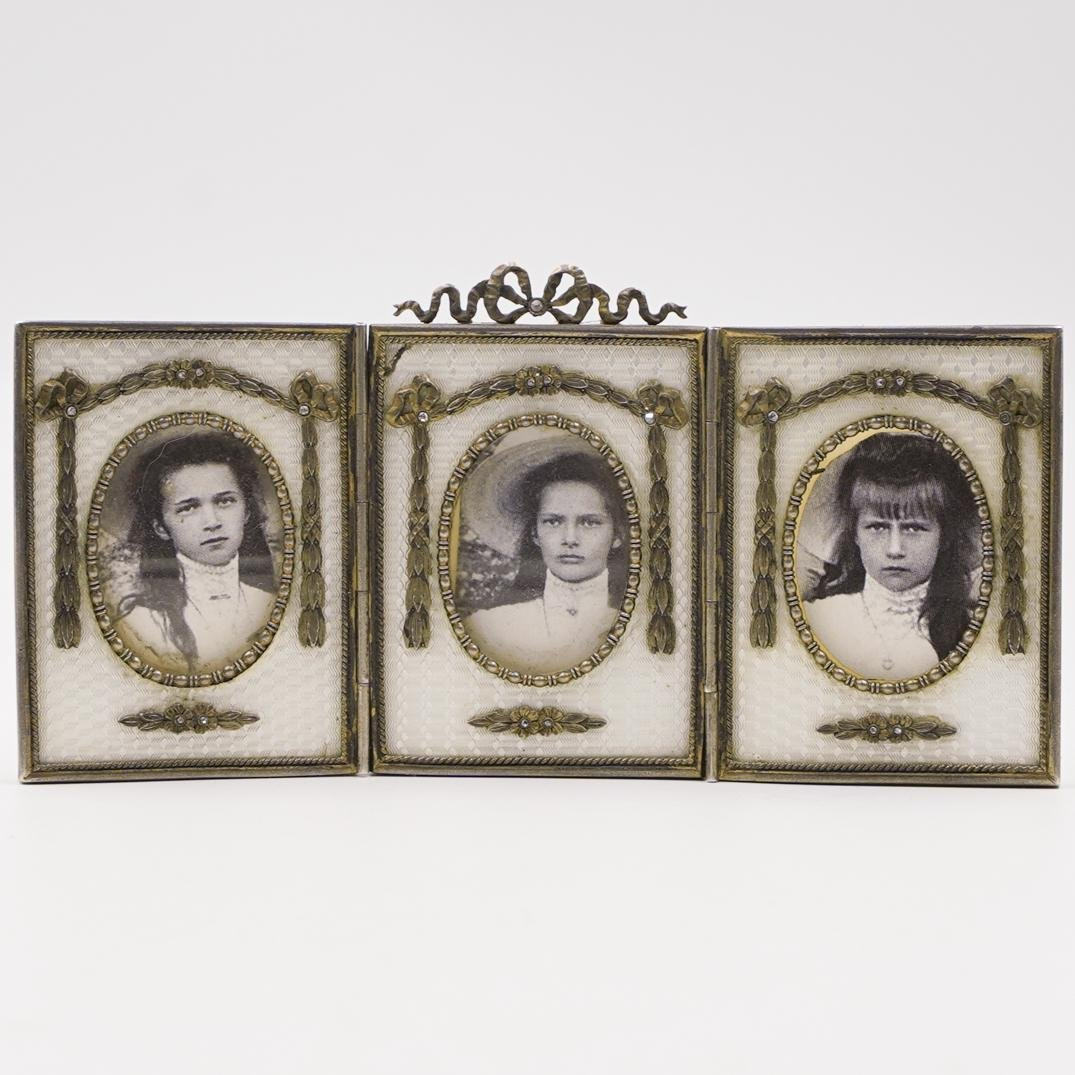 Russian Silver and Enamel Portrait Frame