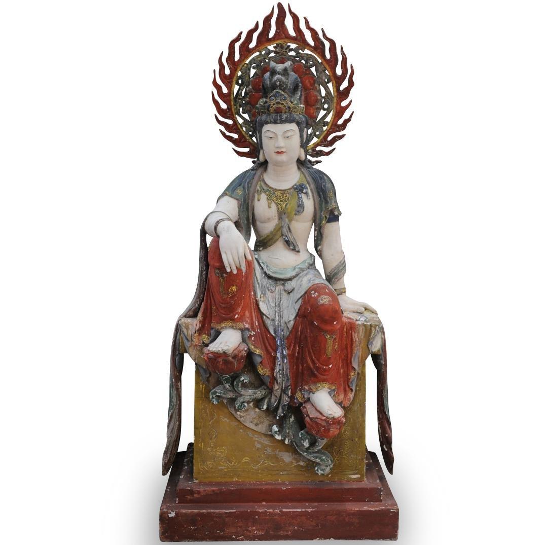Palaze Sized Carved Wood Shiva Sculpture