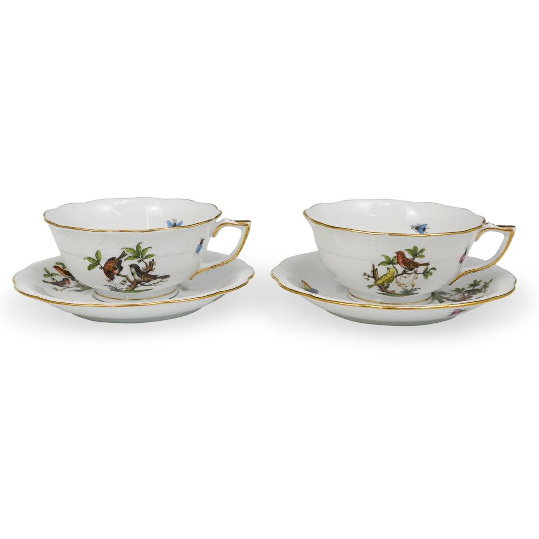 "Pair Of Herend ""Rothschild"" Cups and Saucers"