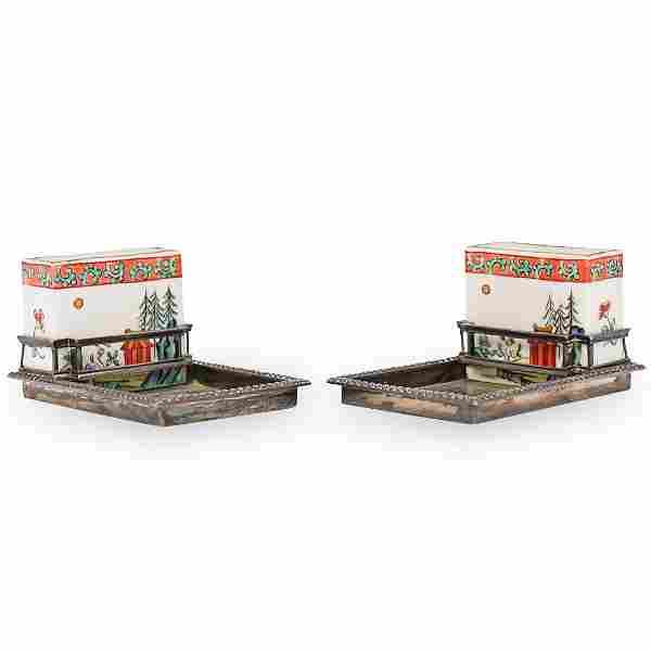 Cartier Chinoiserie Silver Smokers Set
