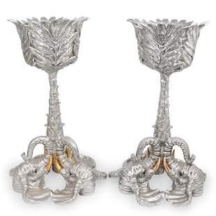 Pair Of Arthur Court Elephant Pedestal Planters