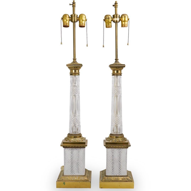 Pair of Warren Kessler Crystal Cut Table Lamps
