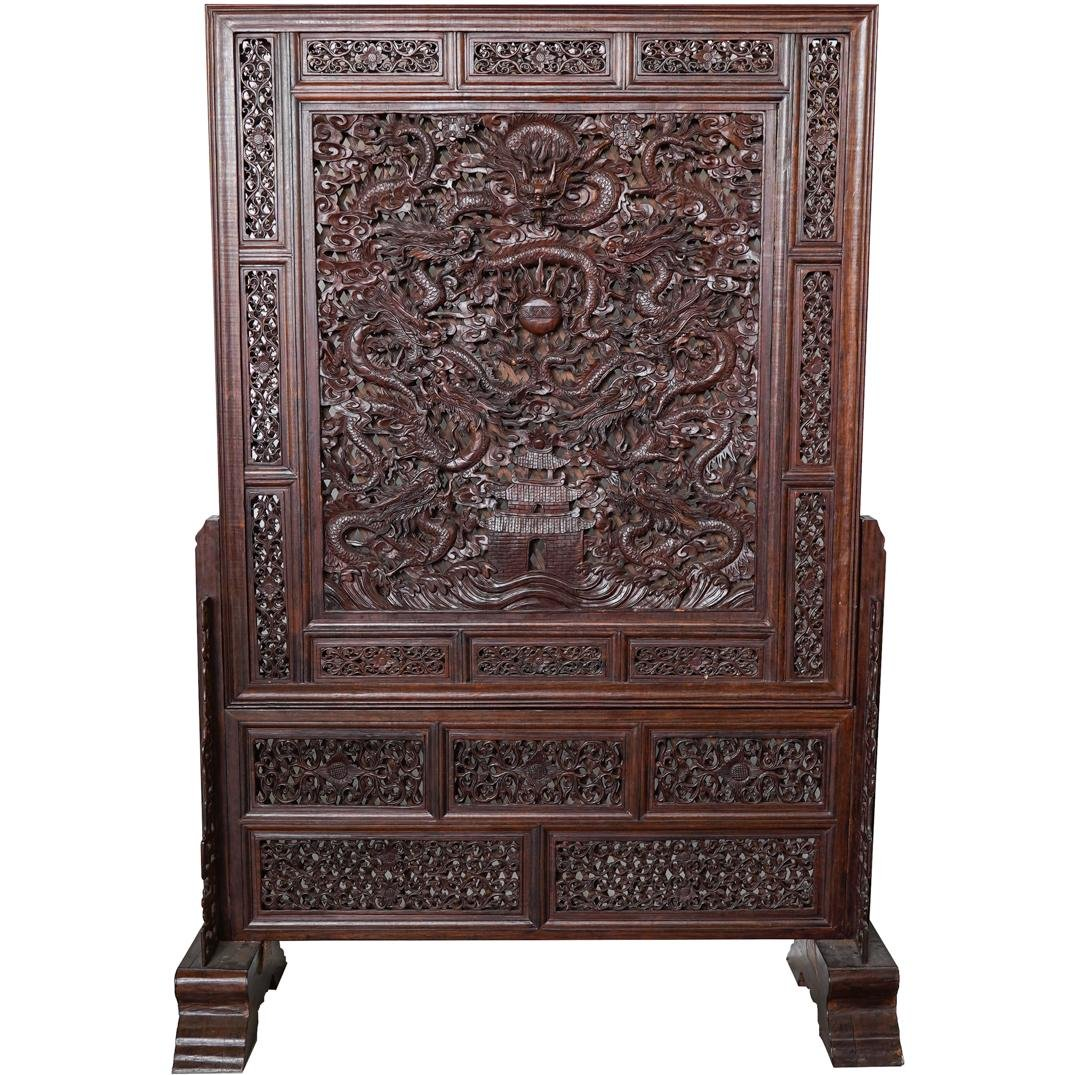 Monumental Chinese Wood Carved Screen