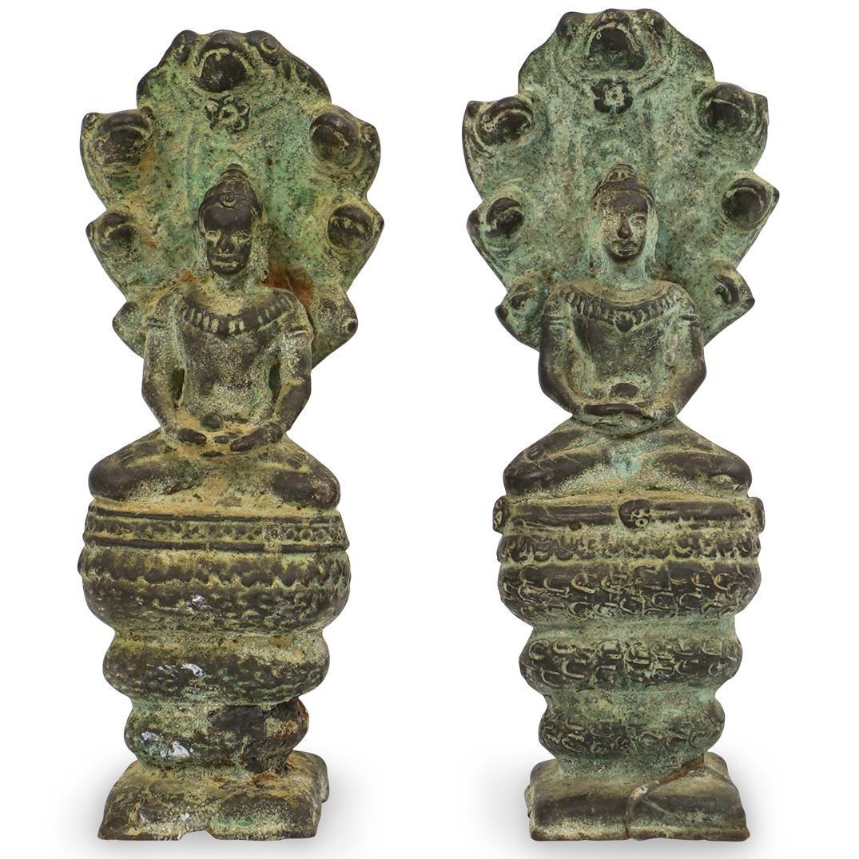 Pair of Cast Bronze Khmer Buddha Figurines