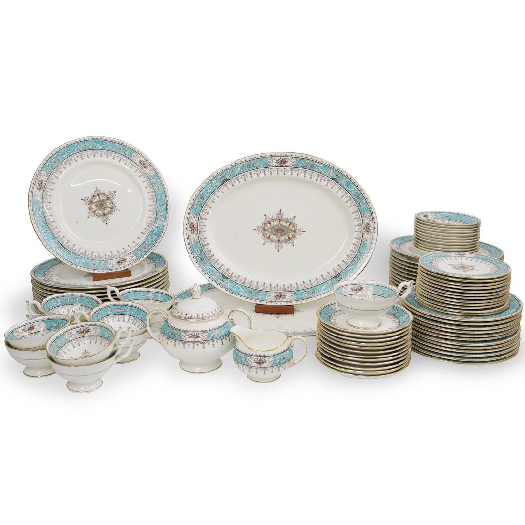 (86 Pc) Montreal Turquoise by Coalport Dinner Service