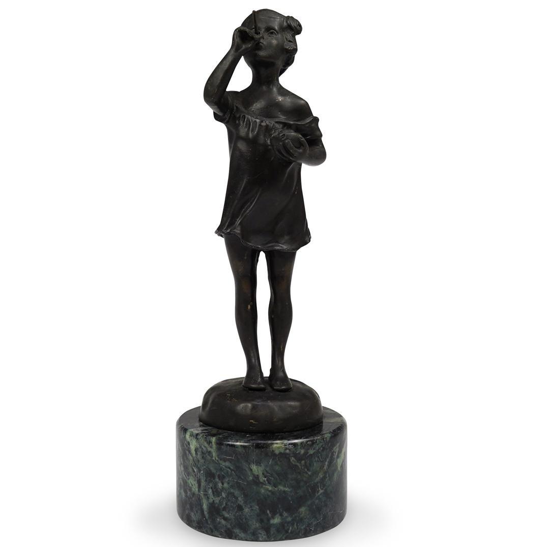 "Caizaro ""Girl Blowing Bubbles"" Bronze Statue"