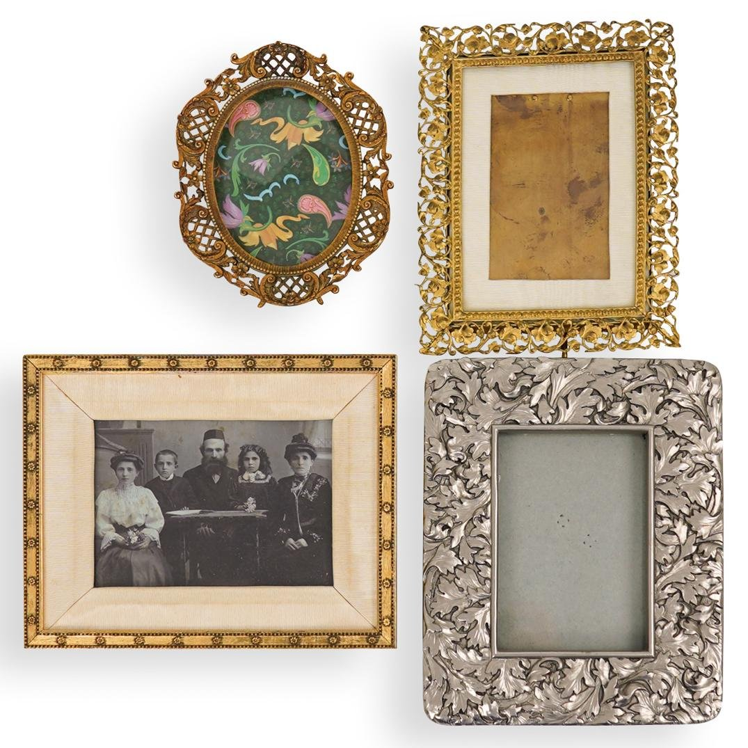 (4 pc) Antique Mixed Metal Picture Frames