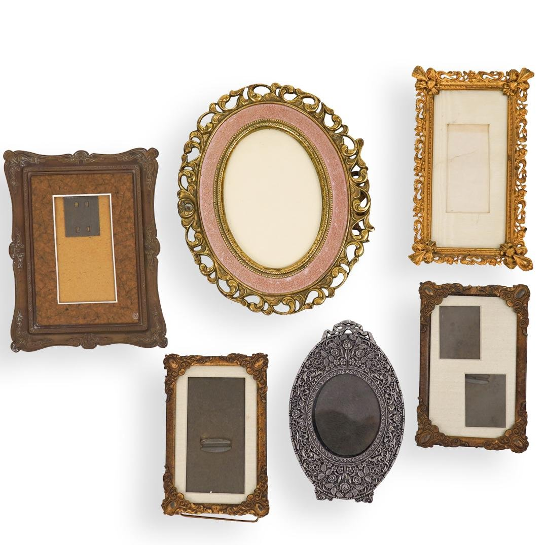 (6 pc) Antique Mixed Metal Picture Frames