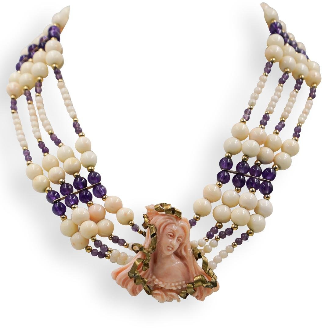 Italian Carved Coral and Beaded Amethyst Necklace