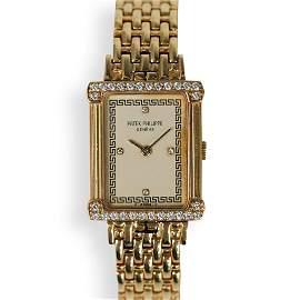"""Patek Phillip """"Les Grecques"""" 18k Diamond Watch"""