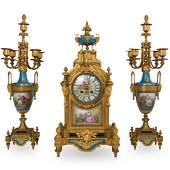 (3 Pc) 19th Cent. French Gilt Clock Garniture Set